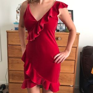 NWT express velvet ruffle dress
